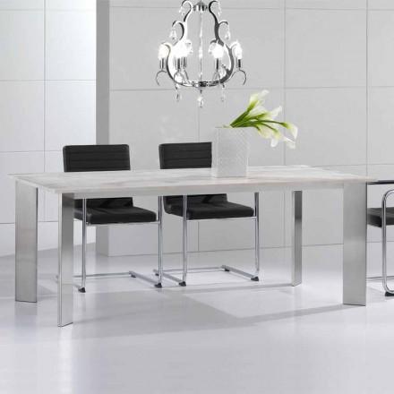 Tisch aus Travertinstein mit Beinen aus glänzendem Stahl Pompilio
