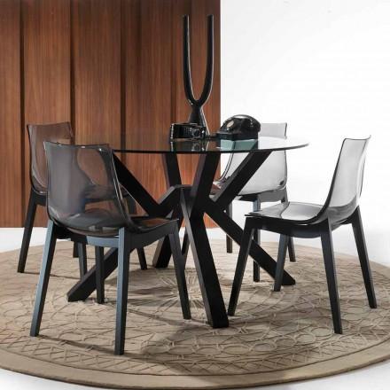 Tisch aus Glas und Buchenholz rund in modernem Design Burgos