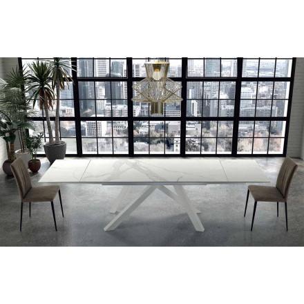 Moderner Esstisch ausziehbar bis 300 cm aus Ipermarmor r – Settimmio
