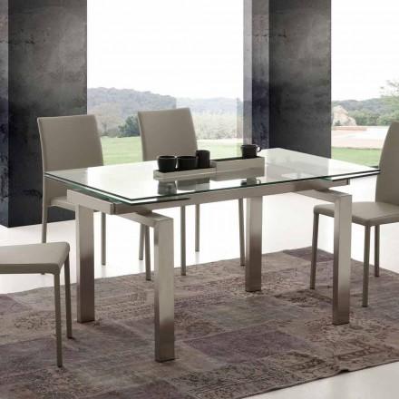 Tisch verlängerbar aus Glas und Stahl Georgia