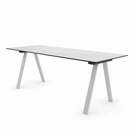 Moderner Outdoor Design Tisch aus Metall und HPL Made in Italy - Denzil
