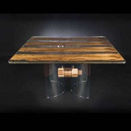 Moderner Tisch aus Holz und Glas Venezia