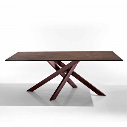 Moderner Tisch aus Glaskeramik-Kochfeld und Metall made in Italy, Dionigi
