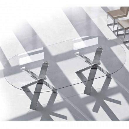 Design oval Tisch in Kristall 220x120cm hergestellt in Italien, Baum