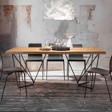 Esstisch aus Eichenholz mit Metallbeinen Made in Italy - Eolo