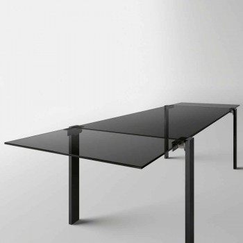 Ausziehbarer Esstisch Bis 280 cm mit Glasplatte Made in Italy - Melo