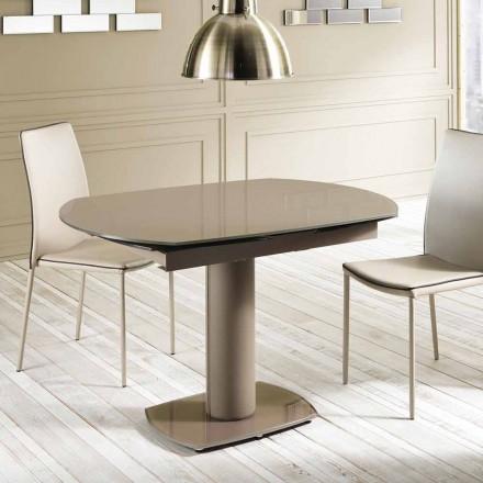 Ausziehbarer Esstisch aus Glas und Kunstleder, L120 / 180xP90 cm - Lelia