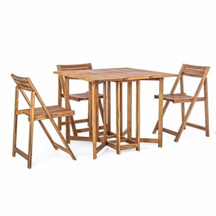 Quadratischer Tisch im Freien aus Akazienholz mit 4 Klappstühlen - Salbei