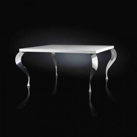 Design Tisch viereckig aus MDF und Stahl verchromt Luigi