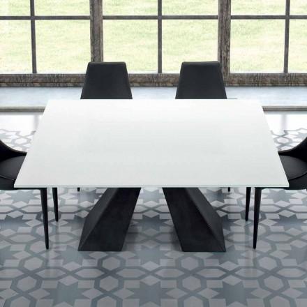 Quadratischer Esstisch aus Hartglas extraweiss und Stahl – Dalmata
