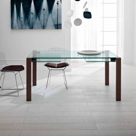 Ausziehbarer Tisch Bis zu 280 cm aus transparentem Glas Made in Italy - Sopot