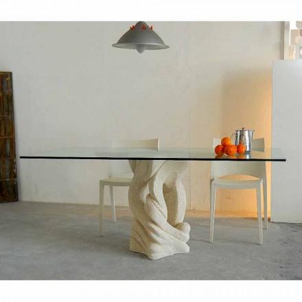 Rechteckiger Tisch aus Stein und Kristall in modernem Design Ascanio