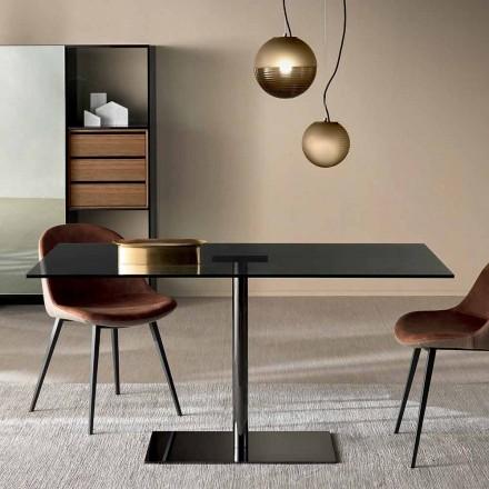 Moderner rechteckiger Tisch aus geräuchertem oder extraleichtem Glas Made in Italy - Dolce