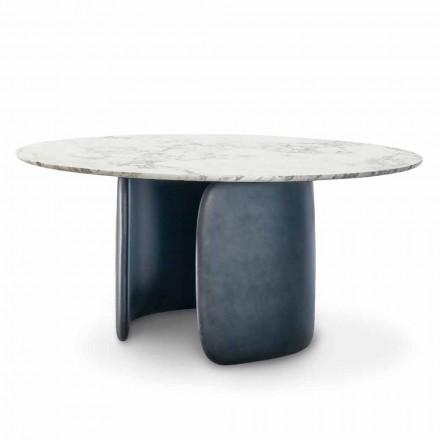 Runder Designtisch mit polierter Marmorplatte Made in Italy - Mellow Bonaldo
