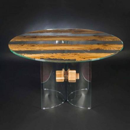 Runder Tisch aus Briccola Holz und Glas Venezia