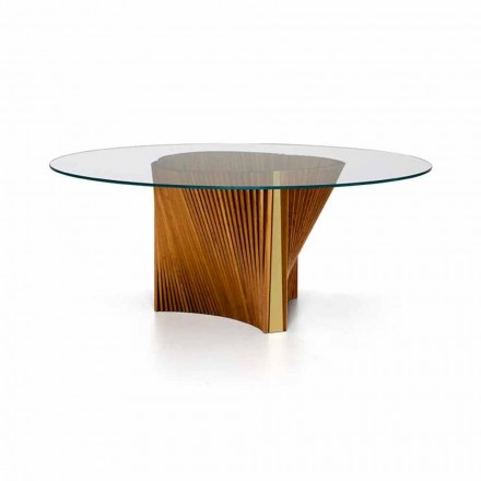 Luxus-Runder Tisch aus Glas und geölter Esche Made in Italy - Madame