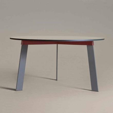 Runder Tisch in modernem Design aus Stahl und farbig lackiertem MDF - Aronte