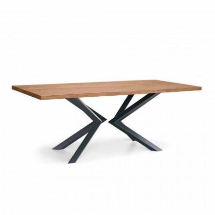 Moderner Esstisch aus geknoteter Eiche und Metall Made in Italy - Veruka