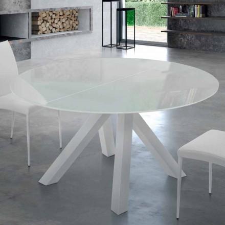 Runder Esstisch aus gehärtetem Glas 8 Sitzplätze – Settimmio