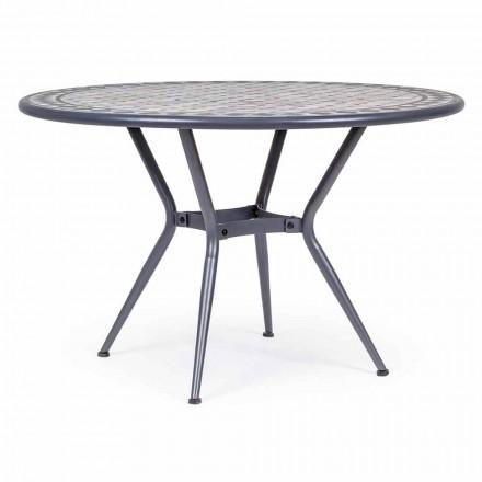 Runder Gartentisch mit Keramikplatte, verziert mit Mosaik - Letizia