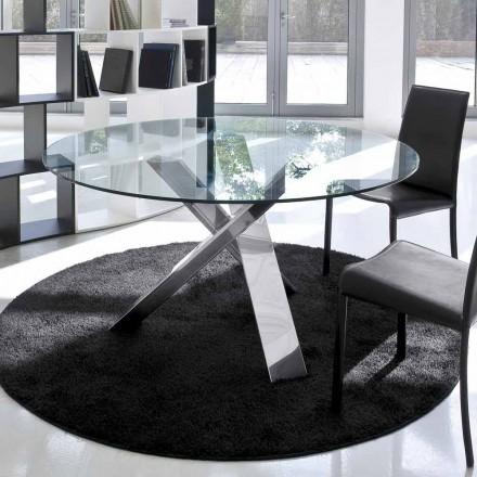 Design runder Tisch (gest. 120) mit Kristallplatte made in Italy, Cristal