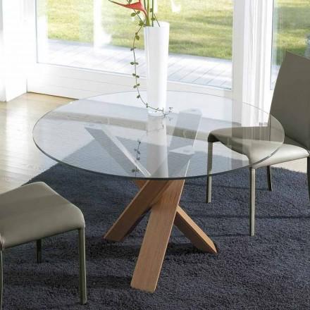 Design runder Tisch (gest. 150) mit Kristallplatte made in Italy Cristal