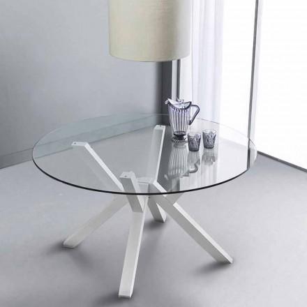 Runder Tisch aus Glas und Buchenholz weiß Burgos