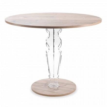 Runder Holztisch und Plexiglasbein mit transparentem Design - Maritozzo