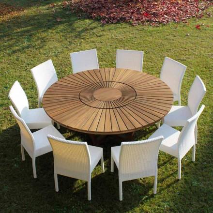 Runder Tisch mit Drehplatte aus Teak und Massivholz für Innen und Außen