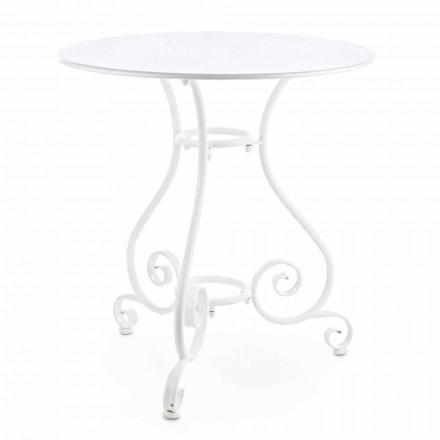 Runder Gartentisch im Shabby Chich-Stil aus lackiertem Stahl - Charm