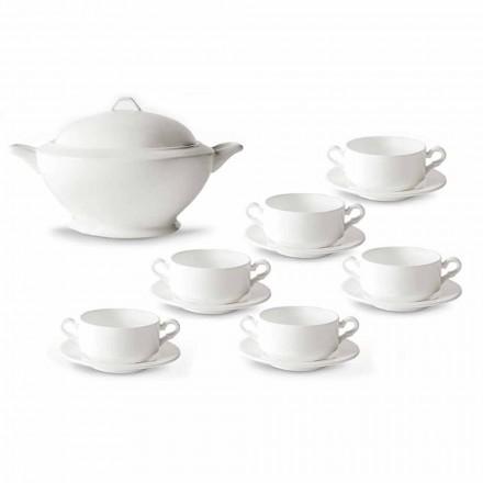 Suppentassen, Terrine und Untertasse aus weißem Porzellan 13 Stück - Samantha