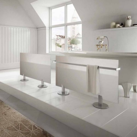 Bodenheizkörper im modernen Design aus weißem Sternglas