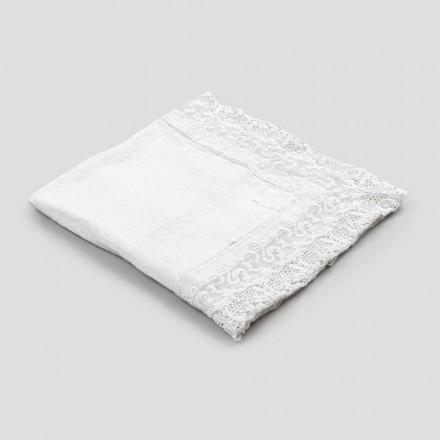 Quadratische Leinentischdecke mit Spitze Weiß Luxus Design Made in Italy - Olivia