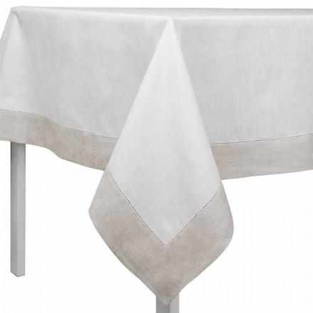 Tischdecke aus Leinen weiß und naturton, rechteckig oder quadratisch – Chiana