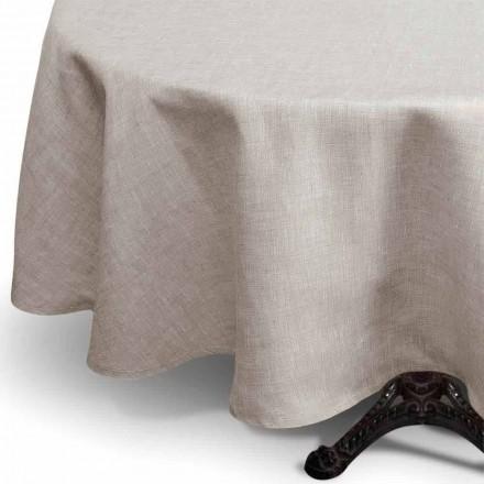 Runde Tischdecke aus reinem Leinen naturton Made in Italy – Blessy