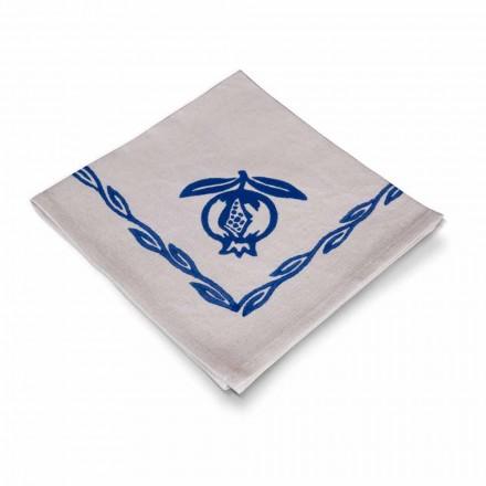 Serviette aus gemischtem Leinen mit Handabdruck Einzigartiges Stück Made in Italy, 6 Stück