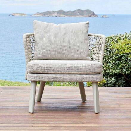 Gepolsterter Outdoor-Sessel aus Metall und Stoff Varaschin Emma
