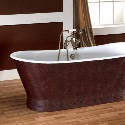 Badewanne aus Gusseisen Außenabdeckung Leder Elsie
