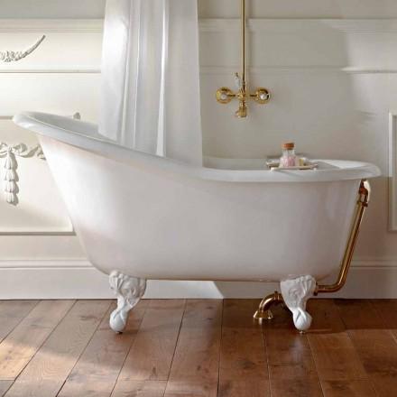 Vintage freistehende Badewanne aus weißem Gusseisen Made in Italy - Paulina