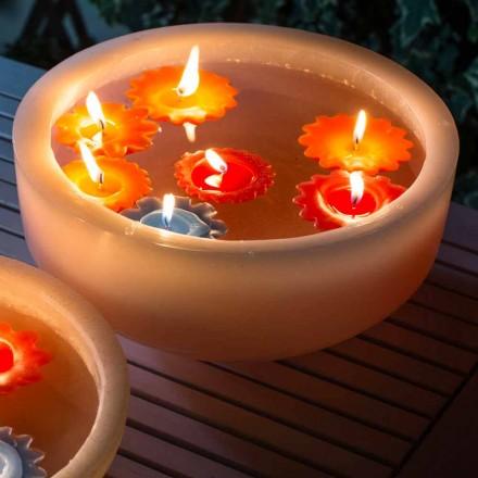 Runde Wachsbadewanne mit farbigen schwimmenden Kerzen Made in Italy - Utina