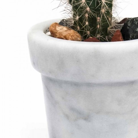 Abgerundetes Designglas aus weißem Carrara-Marmor Made in Italy - Windy