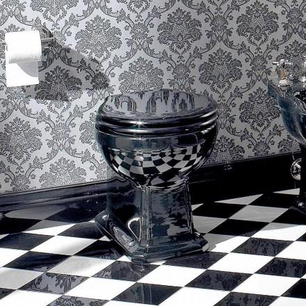 Wc Classic Bodenvase aus schwarzer Keramik mit Sitz, Made in Italy - Marwa