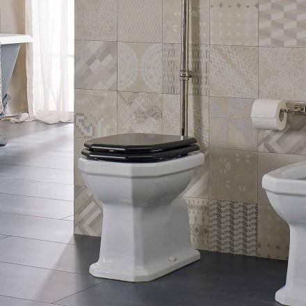 Weiße Keramikbodenvase mit schwarzem Sitz Made in Italy - Nausica