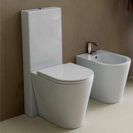 Moderne Toilettenschüssel, weiße Keramik Sun Round 57x37cm made Italy