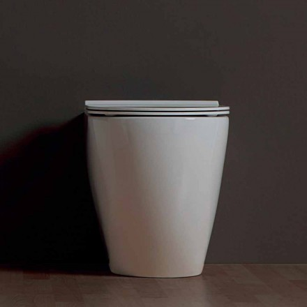 Moderne Toilettenschüssel, weiße Keramik Shine Square Rimless, Italy