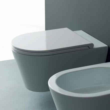 Moderne hängende Toilettenschüssel aus Keramik Sun Round 57x37 Italy
