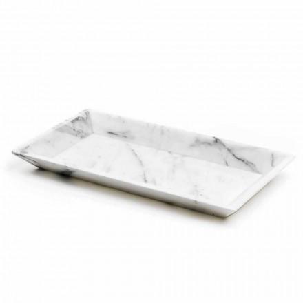 Rechteckiges Tablett aus weißem Carrara-Marmor Made in Italy - Vassili