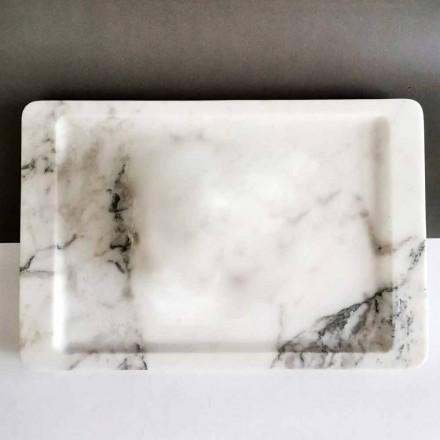 Rechteckiges Tablett aus modernem geädertem weißem Marmor Made in Italy - Stora