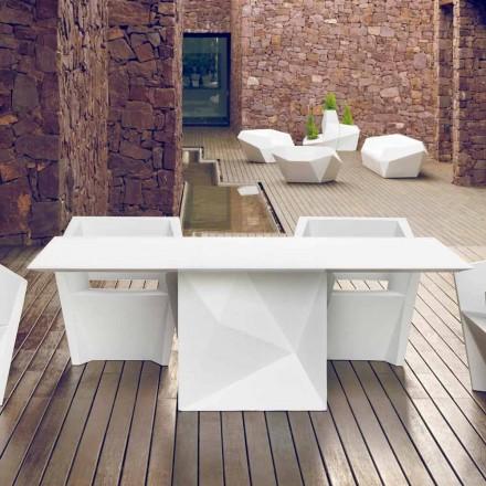 Vondom Faz Gartentisch, lackiertes Weiß, L200xP100cm, Design